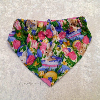 Easter Bunny and Pink Tulips Dog Bandana