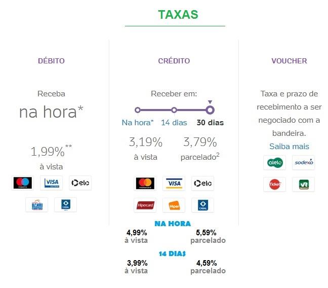 taxas moderninha plus pagseguro