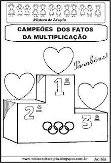 Pódio- campeões fatos da multiplicação