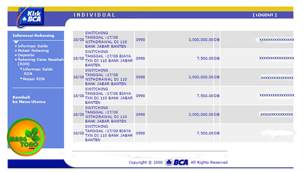 Biaya Tarik tunai di ATM Bank BJB Pagaden