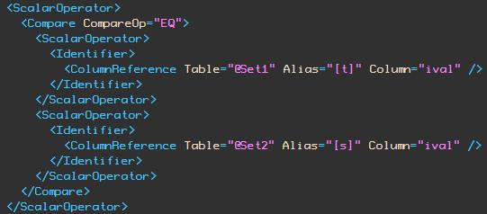 ival column EQ comparison