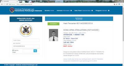 tampilan sertifikat pelaut online di web pelaut
