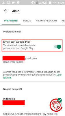 Terakhir silakan pada Email dari Google Play kalian geser ke kanan jika sebelumnya masih di sebelah kiri. Jika di aktifkan nantinya kalian akan mendapatkan berita serta penawaran seperti diskon-diskon dari Google Play