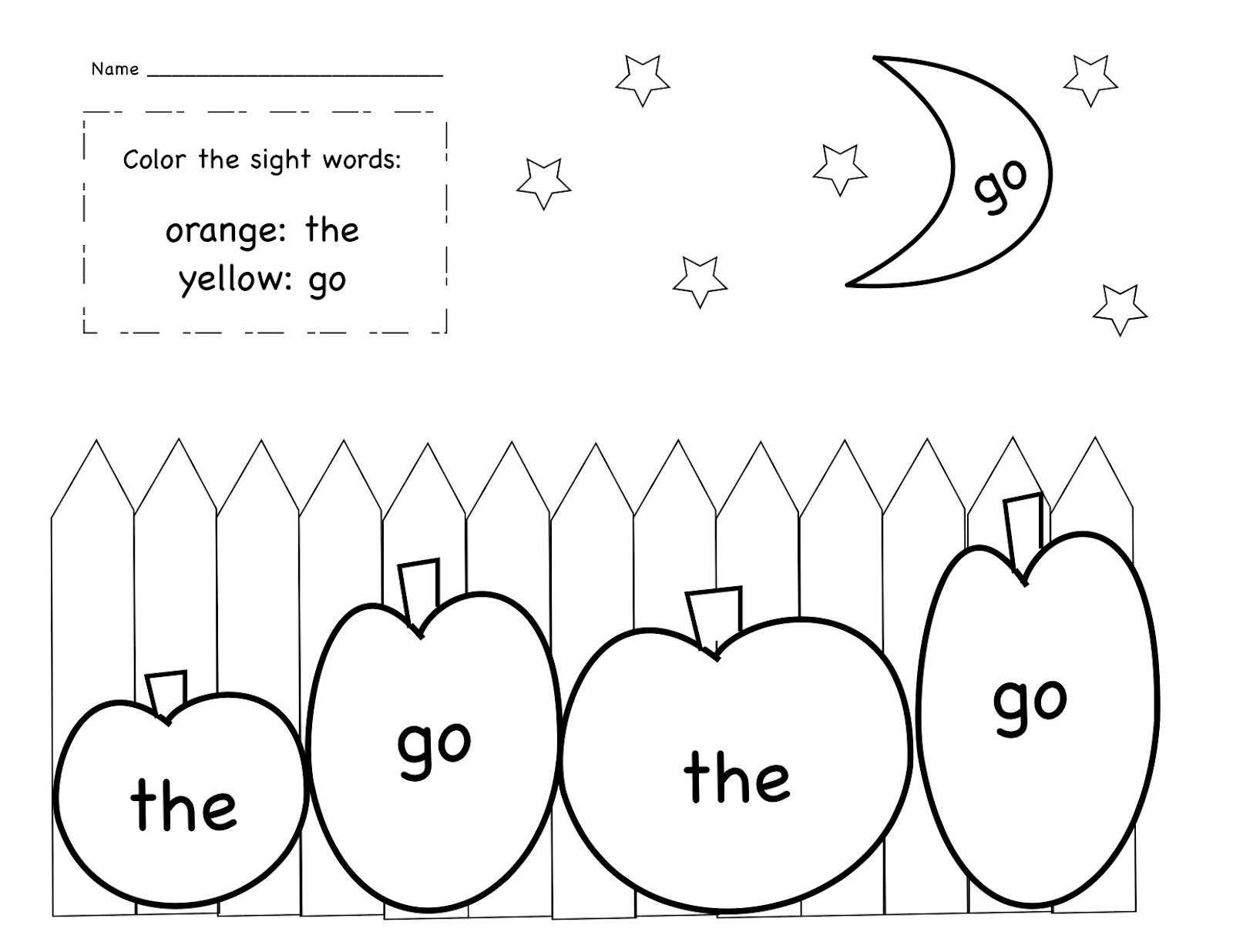 Kinder Learning Garden October Sight Word Freebie