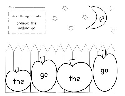 Kinder Learning Garden: October Sight Word Freebie