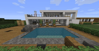 Minecraft-House-Designs-Modern-House-with-Pool