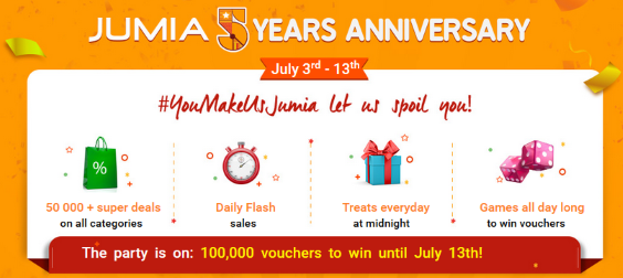 Jumia 5th Year Anniversary Get Up to 70% Off On All Categories