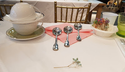 """The table setting ahead of the coffee tasting session. Formally, coffee tasting is called """"cupping""""."""
