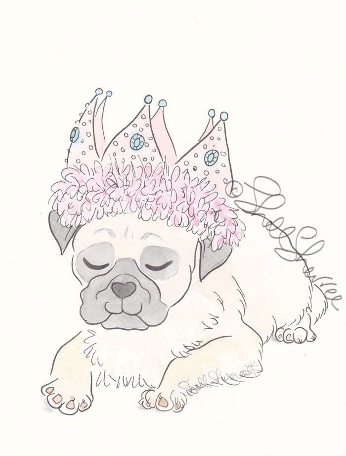 Sweet Party Pug dog illustration © Shell Sherree all rights reserved