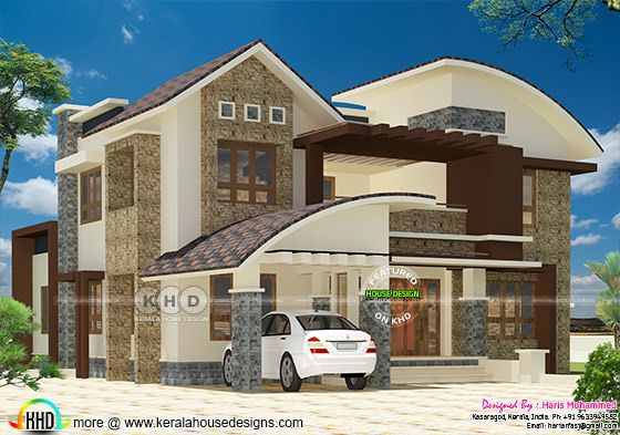 2836 sq-ft mixed roof modern home plan