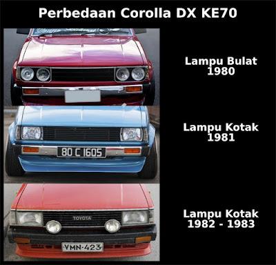 perbedaan Toyota Corolla DX KE70