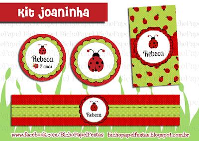 Kit Festa Joaninha vermelho e verde