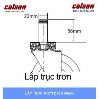 kích thước Bánh xe chống tĩnh điện Colson Mỹ trục trơn có khóa phi 125 (5 inch) sử dụng ổ bi www.banhxeday.xyz
