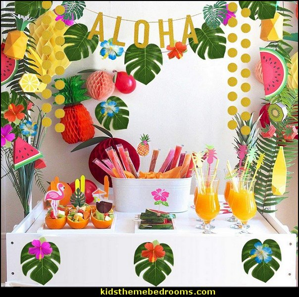 Hawaiian Tropical Luau Party Supplies Tropical party decorations - tropical party ideas - ALOHA Hawaii Luau Party Decorations - Luau Hawaiian Grass Table Skirt raffia Decorations - Hula Hibiscus Tropical Birthday Summer Pool Party Supplies - tiki party pineapple party decorations - beach party - Birthday party  photo backdrop - tropical themed cake decorations - beach tiki themed table decorations -  party props - summer party
