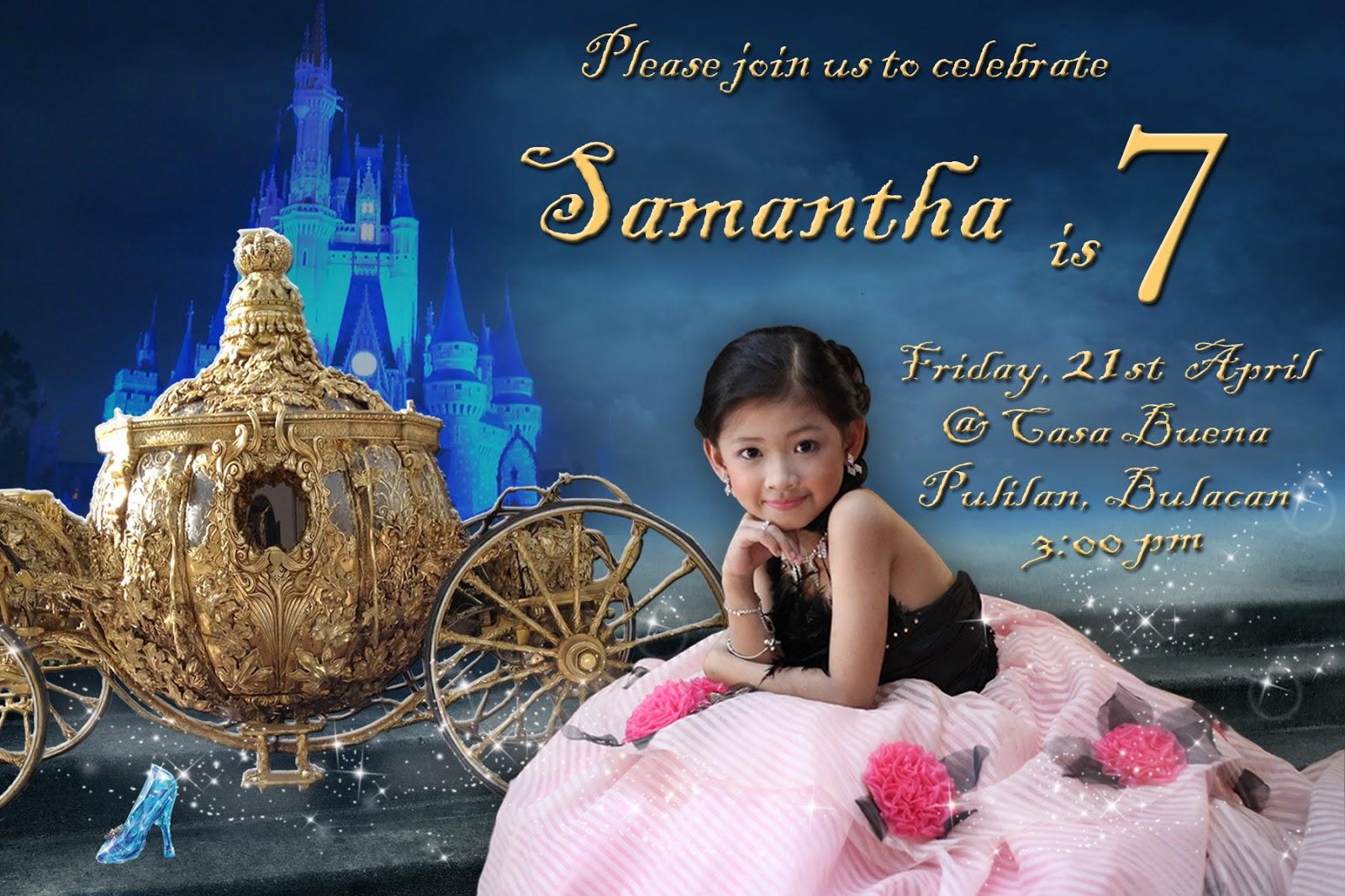 7th birthday sample invitation
