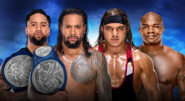 The Usos (c) vs Chad Gable and Shelton Benjamin 2-out-of-3-falls match for the WWE SmackDown Tag Team Championship