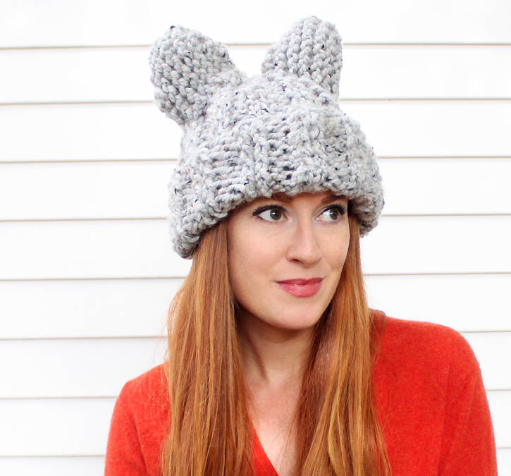 Knitting Pattern Hat Cast On : Cat Ear Hat [knitting pattern] - Gina Michele