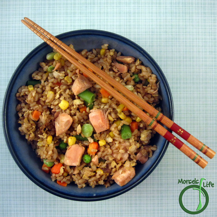 Morsels of Life - Salmon Fried Rice - Quick, simple, and healthy. Make this Salmon Fried Rice with leftover odds and ends or when you're low on groceries.