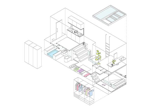 Projeto do apartamento de 21 metros quadrados