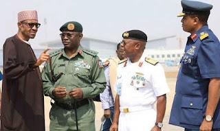 Nigeria @ 57: Buhari Service Chiefs Visit Maiduguri