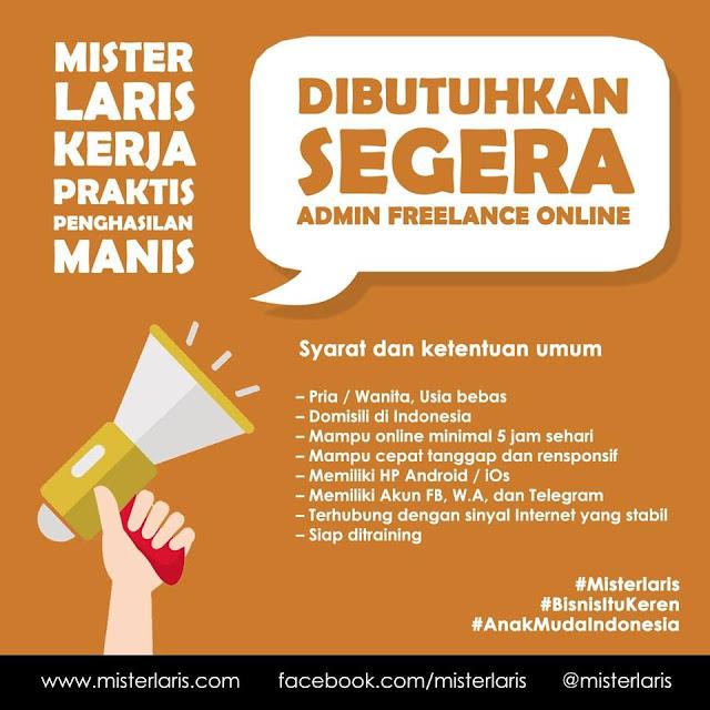 Lowongan kerja admin freelance online