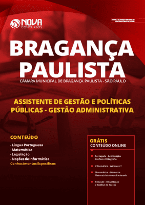 Apostila Concurso Câmara de Bragança Paulista 2020 Assistente de Gestão e Políticas Públicas Gestão Administrativa Grátis Cursos Online