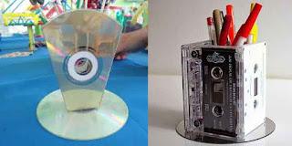 Kreasi Kerajinan Tangan Membuat Tempat Pensil Dari Kaset Dan VCD Bekas