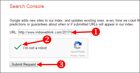 google search console me post ka link submit kare