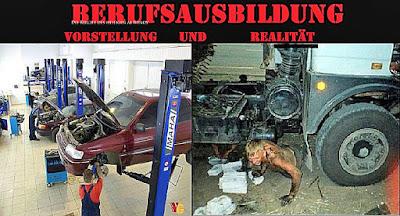 Lustige Bilder mit Text Berufsausbildung Kfz Mechaniker - Azubi Spaßbilder