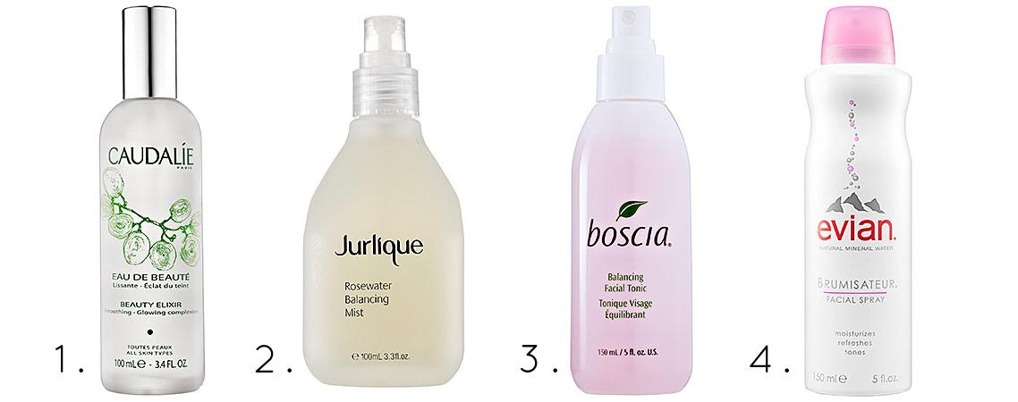 Caudalie Beauty Elixer, Jurlique Rosewater Balancing Mist, Boscia Balancing Facial Toner, Evian Facial Spray