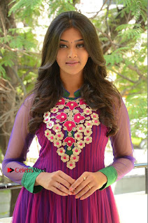 Pooja Jhaveri in cute Purple Surti Embroidery work Salwar Suit At Dwaraka Success Meet