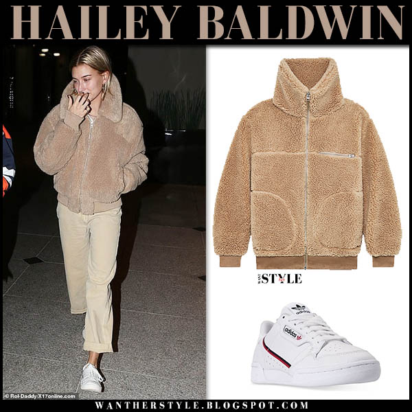 Hailey Baldwin in beige teddy jacket wilfred and beige pants model casual outfit december 12