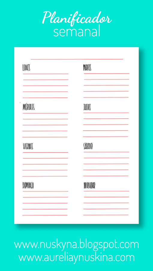 Imprimibles gratis organización semanal.