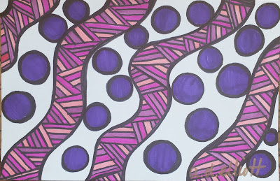 A pen and ink doodle meditation in pinks and purples and a blurb about frogs and the Sixth Extinction