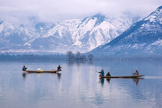 Dal Lake - Srinagar with snow capped Himalayas in the background