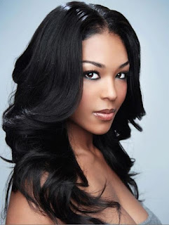 Long layered black hairstyle