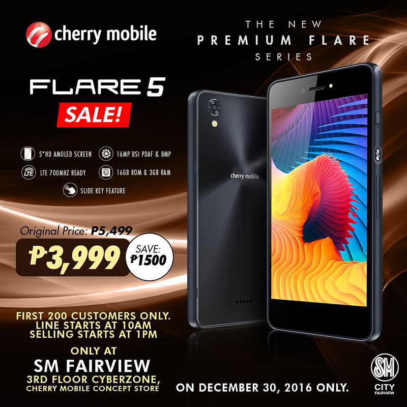 Cherry Mobile Flare 5 PHP 3999 One Day Sale Is Back Only For Today!