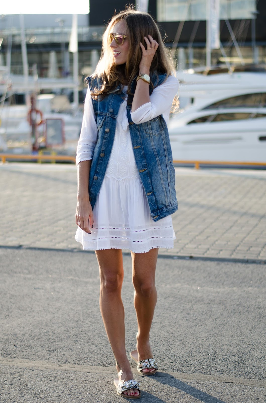 oversized denim vest white dress summer style