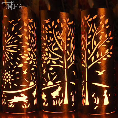 washpapa, washable paper, uszyte z washpapay, vegan leather, papercut, woodland, rabbit, forest, lantern,