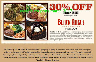 Black Angus Steakhouse coupons for march 2017