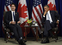 Canadian Prime Minister Justin Trudeau and President Obama (Credit: AP Photo/Susan Walsh) Click to Enlarge.
