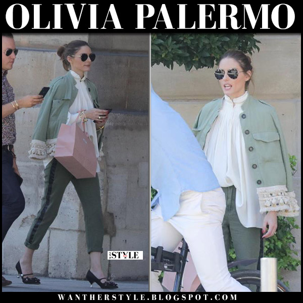 32dcacf5718 Olivia Palermo in khaki green tassel jacket and khaki pants in Paris ...