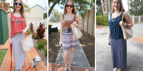 3 Outfit ideas with Louis Vuitton Neverfull And Striped Skirts | awayfromtheblue
