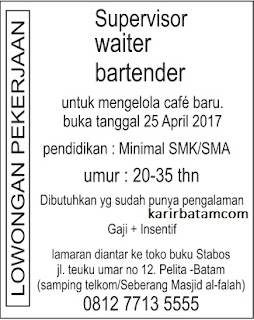 Lowongan Kerja Bartender dan Waiter April 2017
