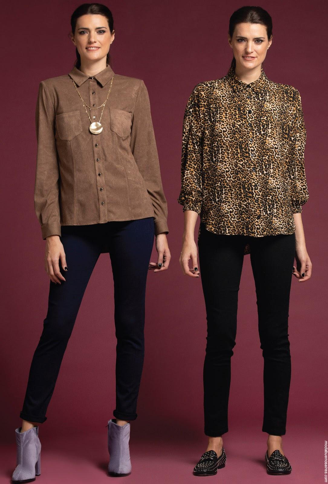 Moda invierno 2019 ropa de mujer. Camisas de invierno mujer 2019. Blusa y camisas animal print.