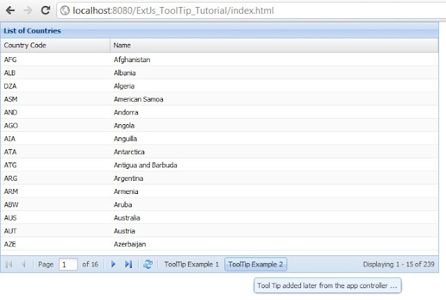 ExtJs 4 Grid ToolTip example for Grid Cell and docked Items