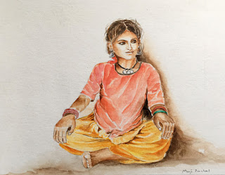 A water colour painting of a young girl from Rajasthan by Indian artist Manju Panchal