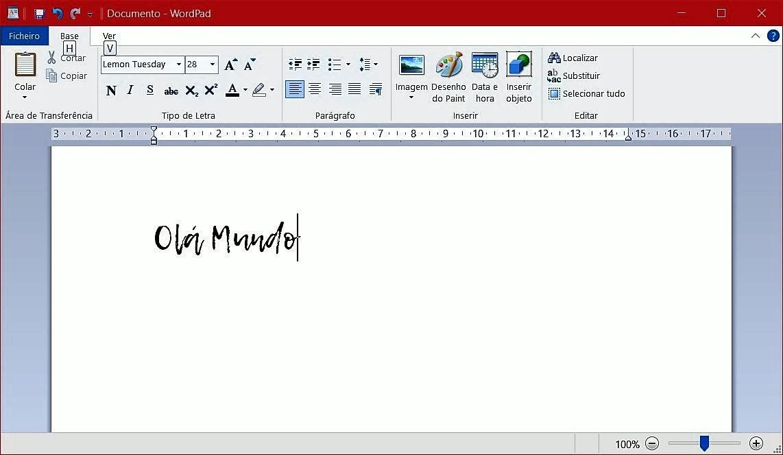 Teste ao novo Tipo de Letra no Wordpad