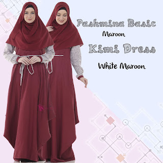 Gamis Valisha Kimi Dress White Maroon