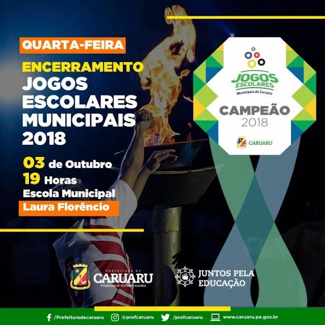 Prefeitura de Caruaru realiza cerimônia de encerramento dos XVII Jogos Escolares Municipais